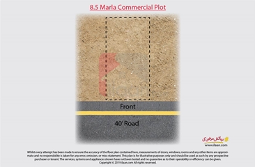 8.5 marla commercial plot for sale in B Side, Sector C, Bahria Town, Lahore