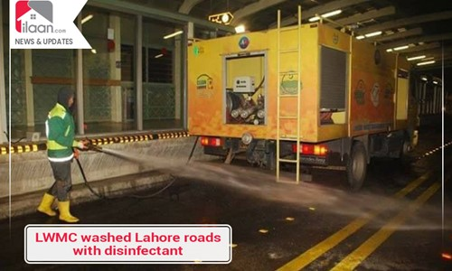 LWMC washed Lahore roads with disinfectant