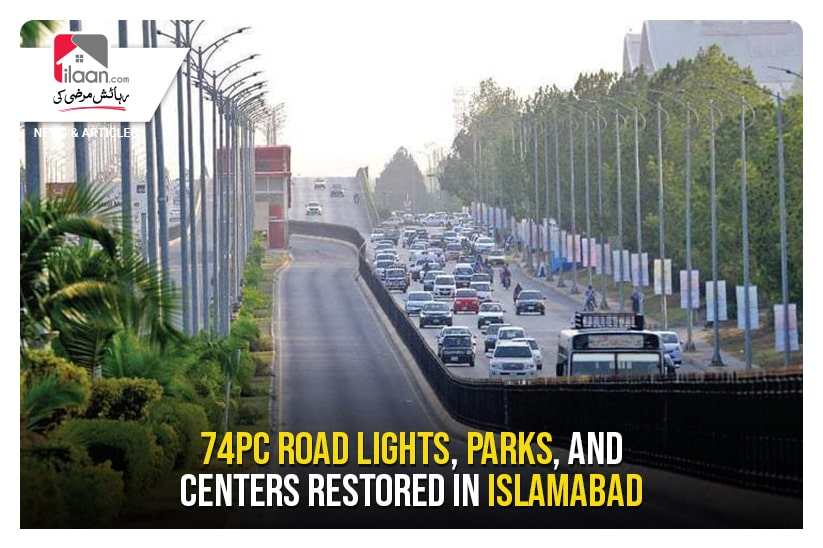 74pc road lights, parks, and centres restored in Islamabad