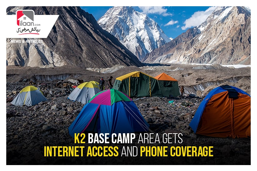 K2 base camp area gets internet access and phone coverage