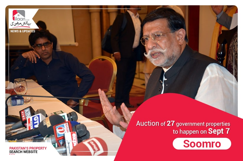 Auction of 27 government properties to happen on Sept 7: Soomro