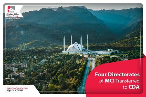 Four directorates of MCI transferred to CDA