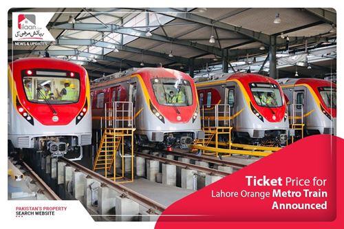 Ticket price for Lahore Orange Metro Train announced